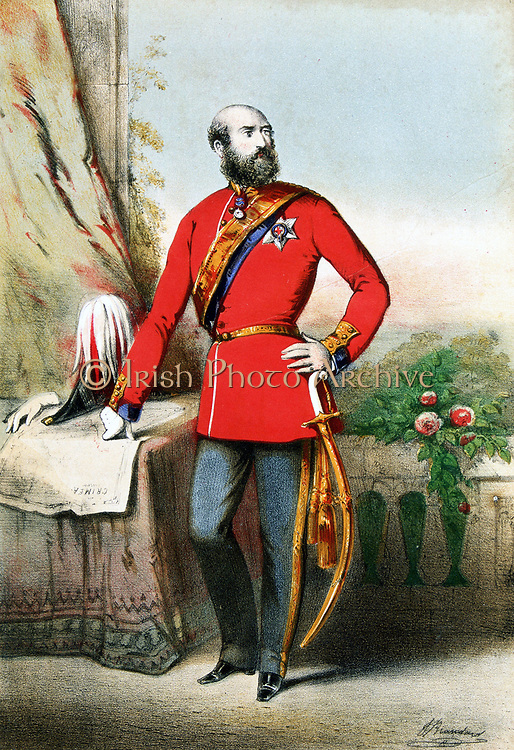 George William Frederick Charles, 2nd Duke of Cambridge, cousin of Queen Victoria. Commanded division in Crimea 1854. Field Marshal 1862, C-in-C British army. Lithograph from cover of music of  'The Soldier's Polka' showing his hand on map of Crimea. c185