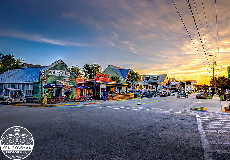 Sullivan's Island Middle Street restaurant row sunset.