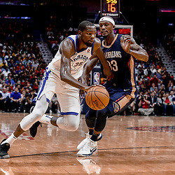 Oct 20, 2017; New Orleans, LA, USA; Golden State Warriors forward Kevin Durant (35) drives past New Orleans Pelicans forward Dante Cunningham (33) during the second quarter of a game at the Smoothie King Center. Mandatory Credit: Derick E. Hingle-USA TODAY Sports