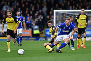 Burton Albion midfielder Luke Murphy (7) tackles Ipswich Town striker Martyn Waghorn (9) during the EFL Sky Bet Championship match between Burton Albion and Ipswich Town at the Pirelli Stadium, Burton upon Trent, England on 28 October 2017. Photo by Richard Holmes.