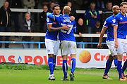 GOAL Nathaniel Mendez-Laing celebrates with Andy Cannon 3-0 during the EFL Sky Bet League 1 match between Rochdale and Southend United at Spotland, Rochdale, England on 8 October 2016. Photo by Daniel Youngs.