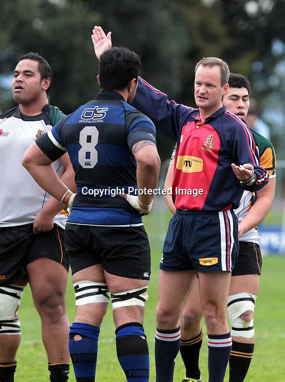Referee Robert Parkes speaks to Pom Simona. Auckland Club Rugby Grand Final - Ponsonby v Grammar Carlton, Auckland Grammar, Auckland, New Zealand. Saturday 13 August 2011. Photo: Ella Brockelsby / photosport.co.nz