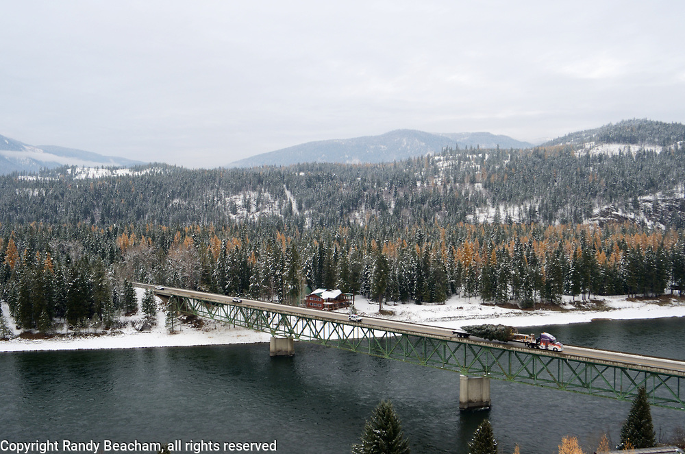 The 2017 Capitol Christmas tree being transported by Whitewood Transport over the Kootenai River after leaving the Historic Upper Ford Ranger Station in the upper Yaak Valley. Kootenai National Forest in the Purcell Mountains, northwest Montana.