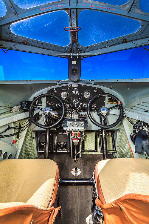 Cockpit of the Ford Tri-Motor, owned and flown by the Experimental Aircraft Association.  Created by aviation photographer John Slemp of Aerographs Aviation Photography. Clients include Goodyear Aviation Tires, Phillips 66 Aviation Fuels, Smithsonian Air & Space magazine, and The Lindbergh Foundation.  Specialising in high end commercial aviation photography and the supply of aviation stock photography for commercial and marketing use.