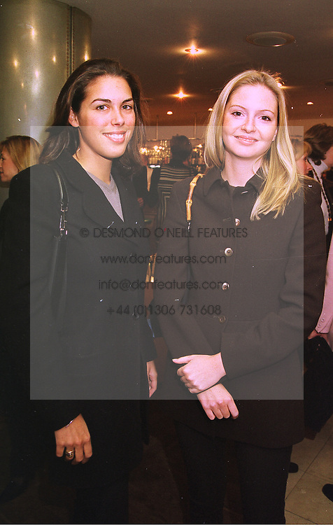 Left to right, MISS JESSICA DE ROTHSCHILD and MISS VICTORIA TOMPKINS, at a luncheon in London on 26th January 1998.MET 21