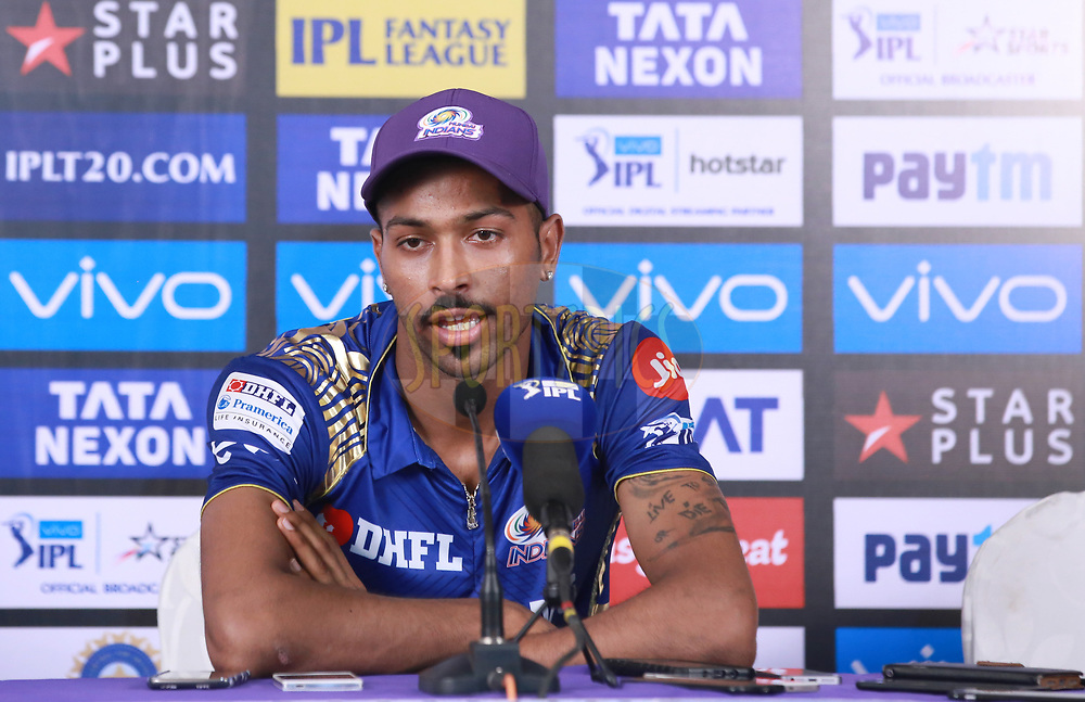 Hardik Pandya of the Mumbai Indians addressing press conference after the match thirty seven of the Vivo Indian Premier League 2018 (IPL 2018) between the Mumbai Indians and the Kolkata Knight Riders   held at the Wankhede Stadium in Mumbai on the 6th May 2018.<br /> <br /> Photo by: Faheem Hussain / SPORTZPICS for BCCI