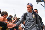 Leeds United defender Ezgjan Alioski (10) arrives at the ground during the EFL Sky Bet Championship match between Leeds United and Brentford at Elland Road, Leeds, England on 21 August 2019.
