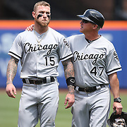 NEW YORK, NEW YORK - June 01:  Brett Lawrie #15 of the Chicago White Sox and third base coach Joe McEwing #47 of the Chicago White Sox during the Chicago White Sox  Vs New York Mets regular season MLB game at Citi Field on June 01, 2016 in New York City. (Photo by Tim Clayton/Corbis via Getty Images)