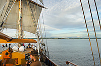 Hawaiian Chieftain at sail in Semiahmoom Bay Washington. A Square Topsail Ketch. Owned and operated by the Grays Harbor Historical Seaport, Aberdeen, Washington