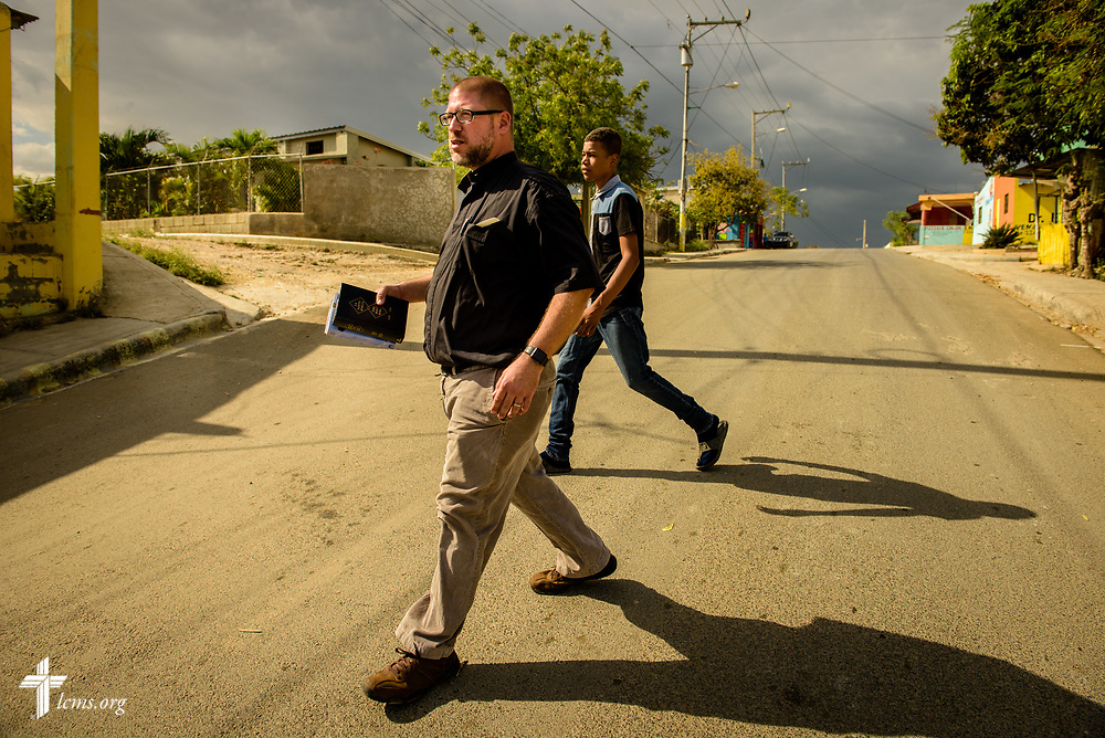 The Rev. Joel Fritsche, LCMS career missionary to the Dominican Republic, walks through a neighborhood on Saturday, March 18, 2017, in Santo Domingo. LCMS Communications/Erik M. Lunsford