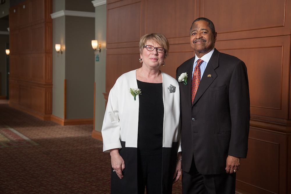 Judith M. Piercy the Interim University Ombudperson is the the recipient of the 2013 Outstanding Administrator Award at the Ohio University's Outstanding Administrator Awards ceremony on March 10, 2014. Judith M. Piercy  is photographed with Ohio University President  Roderick McDavis.Photo by Ohio University / Jonathan Adams