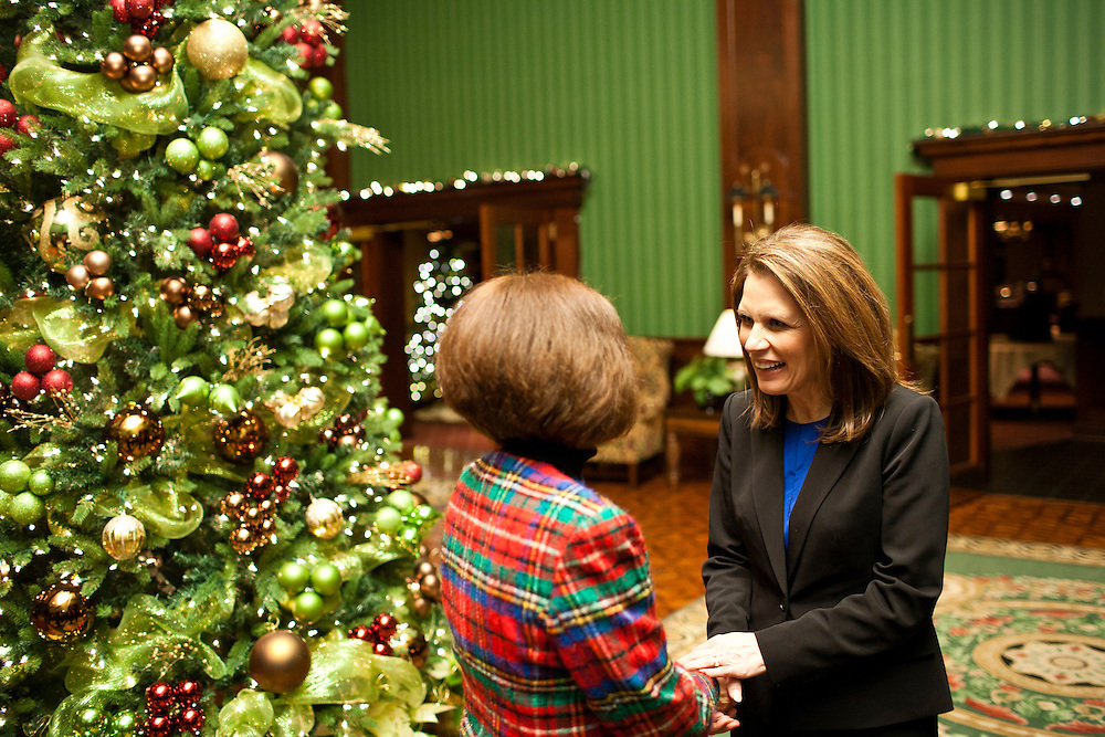 Republican presidential candidate Michele Bachmann greets a supporter at a Republican women's meeting on Thursday, December 8, 2011 in Cedar Rapids, IA.
