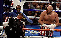 LAS VEGAS, NEVADA - JUNE 15: Referee Kenny Bayless(L) stops Tyson Fury(R) from hitting Tom Schwarz as the fight is stop in the second round at MGM Grand Garden Arena on June 15, 2019 in Las Vegas, Nevada. Tyson Fury took the win by took the win by TKO. (Photo by MB Media/Getty Images)