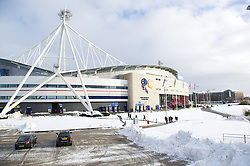 BOLTON, ENGLAND - Saturday, January 26, 2013: Snow outside Bolton Wanderers' Reebok Stadium before the FA Cup 4th Round match against Everton. (Pic by David Rawcliffe/Propaganda)