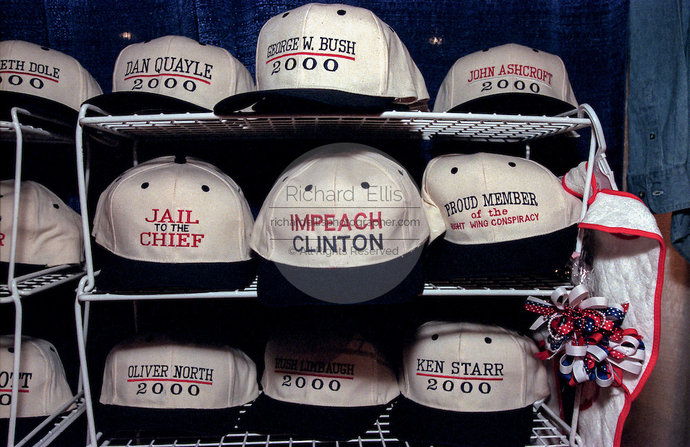 Hats with conservative slogans on sale at the Road to Victory event at the Christian Coalition Conference September 19, 1998 in Washington, DC.