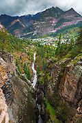 Box Canyon and the town of Ouray, Colorado USA