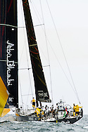 Abu Dhabi Ocean Racing under spinnaker during the in-port race at the 2011-2012 Volvo Ocean Race stopover in Miami.