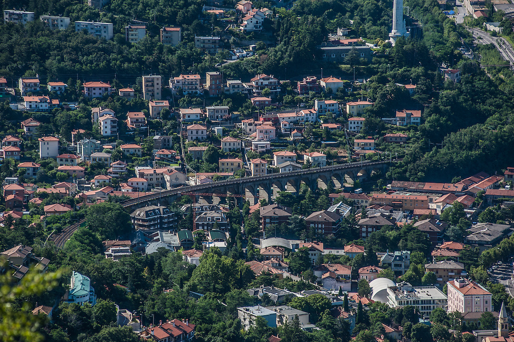 Residential houses and railway in Trieste, Italy