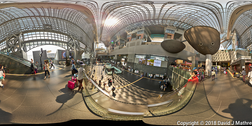 Kyoto Train Station Level Two -- 360 Degree Panorama. Composite of 44 images taken with a Leica CL camera and 18 mm f/2.8 lens (ISO 400, 18 mm, f/5.6, 1/60 sec). Raw images processed with Capture One Pro and AutoPano Giga Pro.