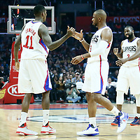 12 December 2016: LA Clippers guard Jamal Crawford (11) is congratulated by LA Clippers guard Chris Paul (3) during the LA Clippers 121-120 victory over the Portland Trail Blazers, at the Staples Center, Los Angeles, California, USA.
