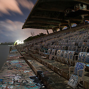 The closed down Miami marine stadium is seen in a long exposure.