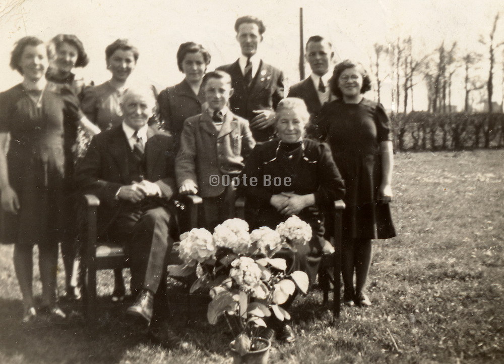 Vintage family group photo, golden marriage