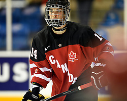 Guuillaume Beck of the Victoriaville Tigres represented Team Canada Red at the World Under-17 Hockey Challenge in Sarnia and Lambton, ON November 2-8, 2014. Photo by Aaron Bell/CHL Images