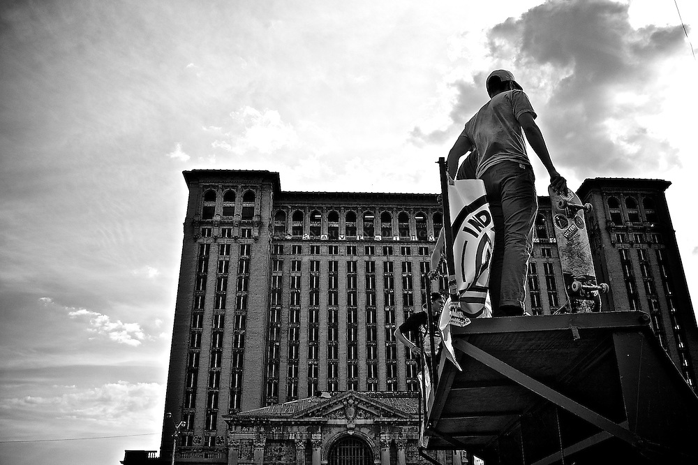 Skater waiting his turn as the Detroit train station looms over. Corktown series