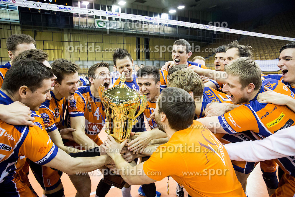 Players of ACH celebrate after winning during volleyball match between Hypo Tirol Innsbruck and OK ACH Volley in Final of MEVZA Cup Men -Final Four, on March 12, 2016 in Hala Tivoli, Ljubljana, Slovenia. Photo by Vid Ponikvar / Sportida
