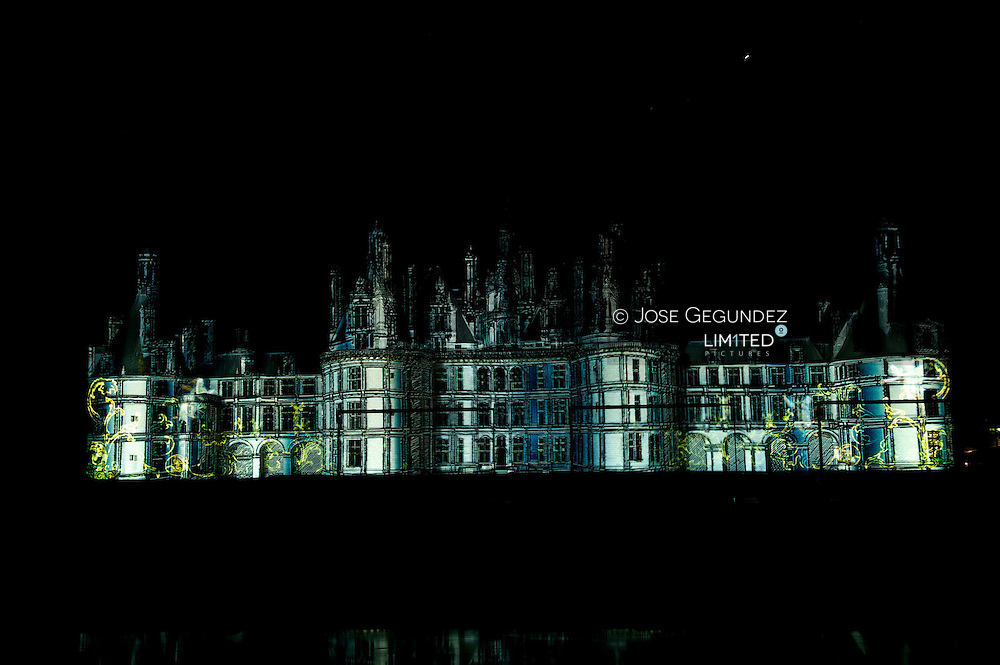 World Heritage Site, French renaissance Chateau de Chambord on Loire River. Sound and Light Show