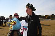 Sondre Nordstad Moen (NOR) reacts after winning the 2017 Fukuoka Marathon in 2:05:48 in Fukuoka, Japan on Sunday, Dec. 3, 2017.  (Kazuaki Matsunaga/ Image of Sport)