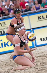 30.07.2014, Strandbad, Klagenfurt, AUT, FIVT, A1 Beachvolleyball Grand Slam 2014, Hauptrunde, im Bild // during Main Draw Match of the A1 Beachvolleyball Grand Slam at the Strandbad Klagenfurt, Austria on 2014/07/30. EXPA Pictures © 2014, EXPA Pictures © 2014, PhotoCredit: EXPA/ Johann Groder