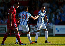 Tom Ince of Huddersfield Town celebrates with Nahki Wells of Huddersfield Town after scoring a goal - Mandatory by-line: Robbie Stephenson/JMP - 12/07/2017 - FOOTBALL - Wham Stadium - Accrington, England - Accrington Stanley v Huddersfield Town - Pre-season friendly
