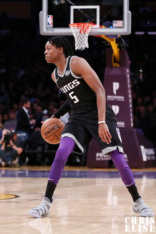 09 January 2018: Sacramento Kings guard De'Aaron Fox (5) dribbles during the LA Lakers 99-86 victory over the Sacramento Kings, at the Staples Center, Los Angeles, California, USA.