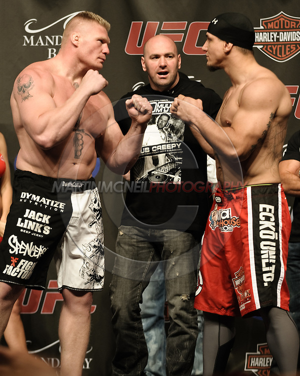 LAS VEGAS, NEVADA, JULY 10, 2009: Brock Lesnar (left) and Frank Mir face off during the weigh-in for UFC 100 inside the Mandalay Bay Events Center in Las Vegas, Nevada