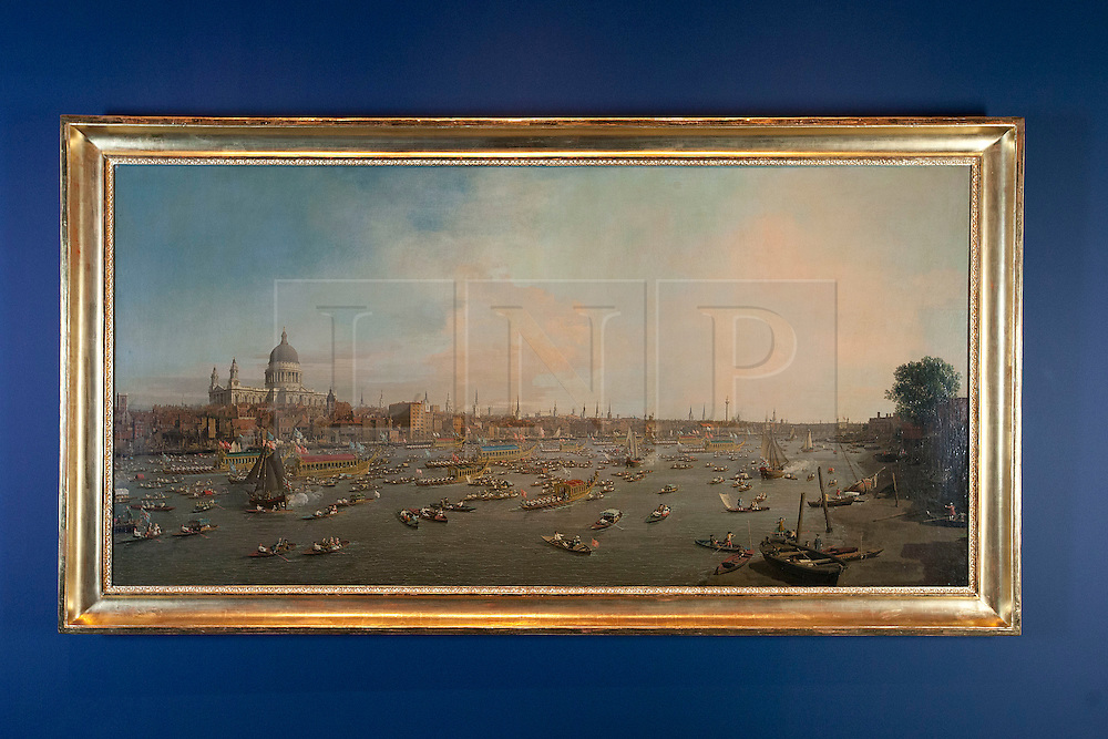 © Licensed to London News Pictures. 20/04/2012. LONDON, UK. Canalettos London: The Thames on Lord Mayor's Day is seen in the National Maritime Museum.  The painting, depicting a view looking towards the City and St Pauls Cathedral has been cited as one of the inspirations for the Thames Diamond Jubilee Pageant and goes on show at the National Maritime Museums forthcoming Royal River: Power, Pageantry & the Thames exhibition in Greenwich from the 27th of April. Photo credit: Matt Cetti-Roberts/LNP
