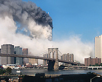 Minutes after collapse, the ash from the collapsed South Tower spreads throughout lower Manhattan. This is the view from the rooftop of my apartment building on September 11, 2001.