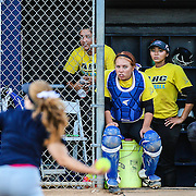 11/4/2016 - Allan Hancock College women's softball players anxiously watch the action against the the opposing women of CalState Fullerton in Fullerton, CA.<br /> <br /> &copy;2016 Jayme Spoolstra/Sports Shooter Academy