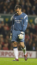 LIVERPOOL, ENGLAND - WEDNESDAY, SEPTEMBER 20th, 2006: Newcastle United's goalkeeper Stephen Harper looks dejected after Liverpool's Xabi Alonso scores from his own half during the Premiership match at Anfield. (Pic by David Rawcliffe/Propaganda)