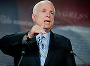 """Aug 3, 2010 - Washington, District of Columbia, U.S., - Sen. JOHN MCCAIN, (R-Ariz.) during a press conference to unveil a new report, """"Summertime Blues: 100 Stimulus Projects that give Taxpayers the Blues during the Summer of Recovery."""".(Credit Image: © Pete Marovich/ZUMA Press)"""
