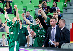 Edo Muric of Krka celebrate after winning the basketball match between KK Krka and KK Union Olimpija in 4th Final match of Telemach League 2012/13 on May 20, 2013 in Arena Stozice, Ljubljana, Slovenia. Krka defeated Union Olimpija third times and become Slovenian Champions 2013. (Photo By Vid Ponikvar / Sportida)