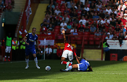 David Davis of Birmingham City tackles Jonathan Leko of Charlton Athletic - Mandatory by-line: Arron Gent/JMP - 14/09/2019 - FOOTBALL - The Valley - Charlton, London, England - Charlton Athletic v Birmingham City - Sky Bet Championship