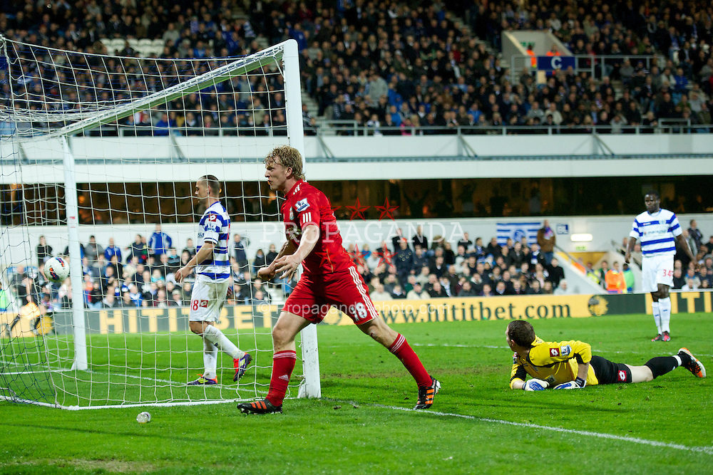 LONDON, ENGLAND - Wednesday, March 21, 2012: Liverpool's Dirk Kuyt celebrates scoring the second goal against Queens Park Rangers during the Premiership match at Loftus Road. (Pic by David Rawcliffe/Propaganda)