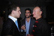 Lord Frederick Windsor, Aatish Taseer and Count Christophe Gollut. Blood Wedding Post - performance party. Count Christophe Gollut's annual fundraising Gala for the Almeida. Islington. London. 17 May 2005. ONE TIME USE ONLY - DO NOT ARCHIVE  © Copyright Photograph by Dafydd Jones 66 Stockwell Park Rd. London SW9 0DA Tel 020 7733 0108 www.dafjones.com