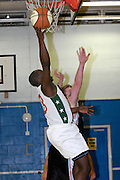 UK, Chelmsford - Thursday, March 05, 2009: Martin Overare lays the ball up to the basket during the Essex Basketball League game Erkenwald at Baddow Eagles. Erkenwald won the game 94 - 75. (Image by Peter Horrell / http://www.peterhorrell.com)