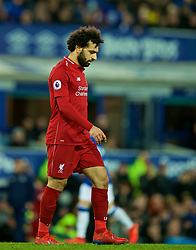 LIVERPOOL, ENGLAND - Sunday, March 3, 2019: Liverpool's Mohamed Salah looks dejected after his side draw 0-0 during the FA Premier League match between Everton FC and Liverpool FC, the 233rd Merseyside Derby, at Goodison Park. (Pic by Paul Greenwood/Propaganda)