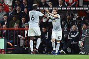Substitution - Paul Pogba (6) of Manchester United is replaced by Daley Blind (17) of Manchester United during the Premier League match between Bournemouth and Manchester United at the Vitality Stadium, Bournemouth, England on 18 April 2018. Picture by Graham Hunt.