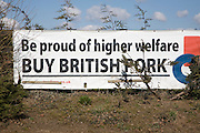 Banner advert 'Be proud of higher welfare buy British pork, Suffolk, England