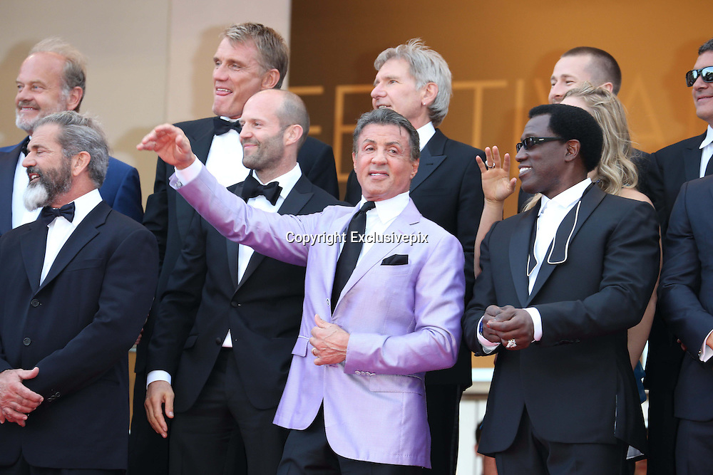 May 18, 2014 - Cannes, California, France -<br /> <br /> (Top l-r) Dolph Lundgren, Harrison Ford, director Patrick Hughes, actors Antonio Banderas, (front l-r) Mel Gibson, Jason Statham, Sylvester Stallone, Ronda Rousey and Wesley Snipes attend the premiere of ''Expandables 3 during the 67th Cannes International Film Festival at Palais des Festivals in Cannes, France,<br /> ©Exclusivepix