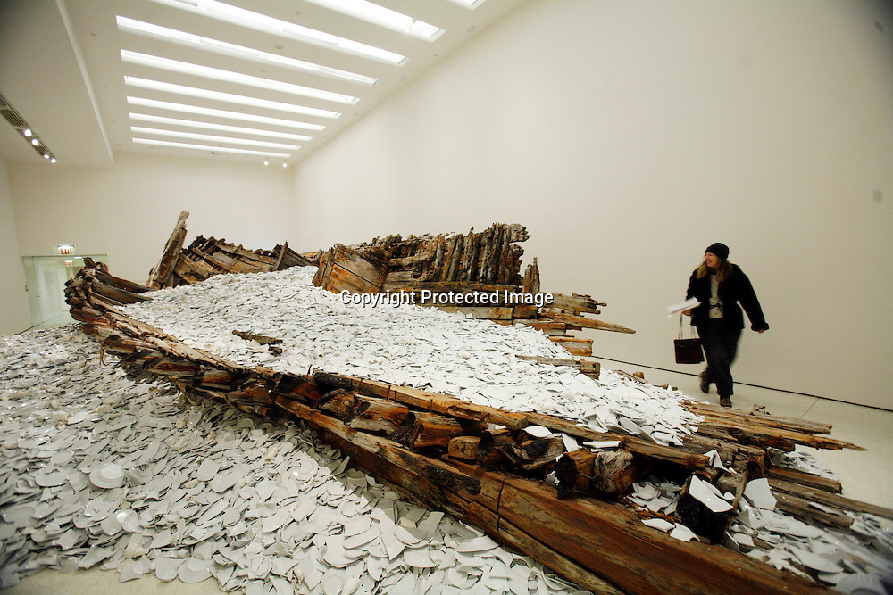 "Artist Cai Guo-Qiang's installation ""Reflection-A Gift from Iwaki"" sits on display at the Guggenheim Museum in New York, February 21, 2008. The piece is part of the artist's exhibition Cai Guo-Qiang: I Want to Believe. REUTERS/Keith Bedford (UNITED STATES)"